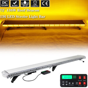 72 Led Warning Emergency Strobe Lightbar Roof Amber For Tow Plow Truck Wrecker