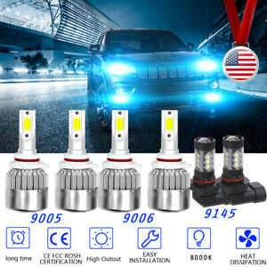 6x Ice Blue Led Headlight Hi lo Fog Light Bulb For Jeep Grand Cherokee 99 2010
