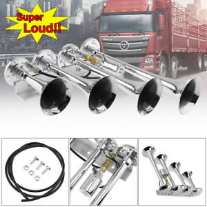 4 Trumpets Train Air Horn Kit For Truck boat car pickup Loud 185db For Air Tank