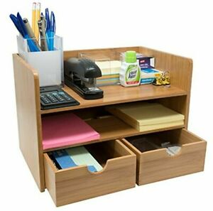 Sorbus 3 tier Bamboo Shelf Organizer For Desk With Drawers