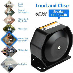 400w Car Warning Police Siren Horn Speaker 8 Sound Mic System Special Vehicles