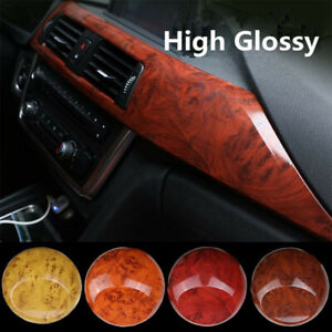 1m Glossy Car Interior Wood grain Textured Vinyl wrap sticker decal Film Diy