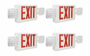 Red Exit Sign 120 277v Double Face Led Combo Emergency Light 4 Pack Lighting New