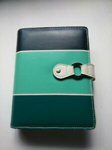 Franklin Covey 365 Planner Binder Compact 1 Rings Faux Leather Blue Green White