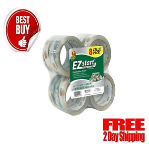 Duck Ez Start Packing Tape 1 88 Inches X 54 6 Yards Clear 8 Value Pack 436 Yds