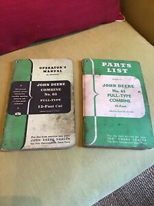 Vintage John Deere Tractor Parts ops Manuals Combine No 65 Pull type 12 Foot