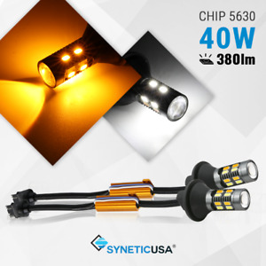 Syneticusa 3157 Switchback White amber Color Led Turn Signal Light No Hyperflash