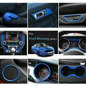 Blue Full Set Interior Decoration Cover Trim For Ford Mustang 2015 Accessories