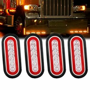 4x Led Brake Tail Lights Sealed Trailer Truck Lorry Stop Turn Light Bar