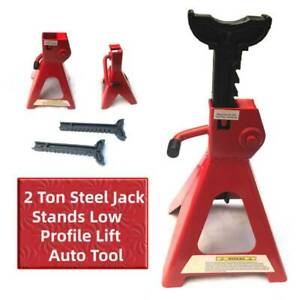 Pair Of 2 Ton Steel Jack Stands Car Emergency Low Profile Lift Auto Tool Adjust