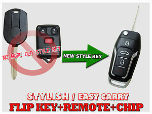 New Oe Style Ford Edge Escape Mustang Flip Transponder Oem Chip Key Remote Fob