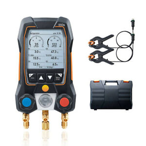 Testo 550 Digital Manifold Kit Refrigeration Meter 0563 1550 With 2x Clamp Probe