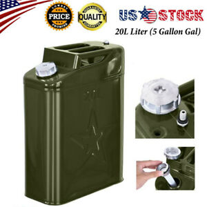 Jerry Can 5 Gallon Gal 20l Liter Backup Steel Tank Gas Gasoline Green Us