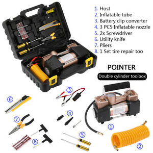 Double Cylinder Air Pump Compressor Heavy Duty Car Tire Inflator 12v 150psi Yell