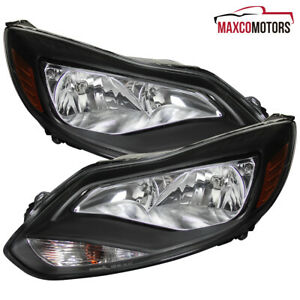 Black Fits 2012 2013 2014 Ford Focus Headlights Signal Lamps Left Right Pair