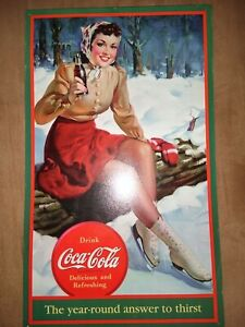 Coca Cola Metal Sign Lady Ice Skater The Year-Round Answer To Thirst
