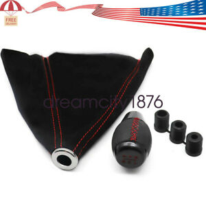 Leather 5 Speed Shift Knob Red Stitching Black Suede Boot Fit For Honda Civic Us