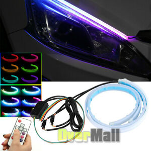 2pcs 24 Rgb Slim Sequential Flexible Led Drl Turn Signal Strip Remote Headlight