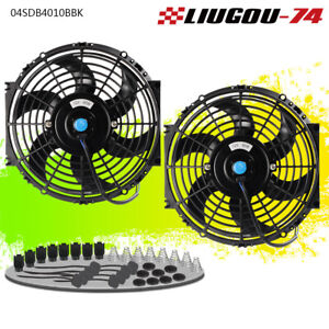2 X 10 Inch Universal Slim Fan Push Pull Electric Radiator Cooling Mount Kit Us