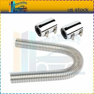 24 Universal Stainless Steel Radiator Flexible Coolant Water Hose Kit W Caps