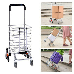 Foldable Trolley Rolling Shopping Cart Collapsible Basket Aluminum Picnic Luggag