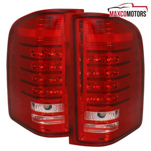 For 2007 2014 Chevy Silverado 1500 2500 3500 Pickup Red Led Tail Lights Lamps
