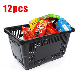 12pack Plastic Shopping Basket Grocery Retail Store Tote W Flat Handle Black Us
