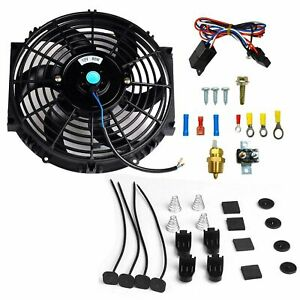 10 Electric Radiator Cooling Fan 3 8 Probe Ground Thermostat Switch Kit Bk