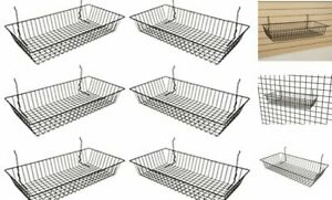 Only Garment Racks 5624b pack Of 6 Black Wire Baskets For Grid Wall Slat Wal