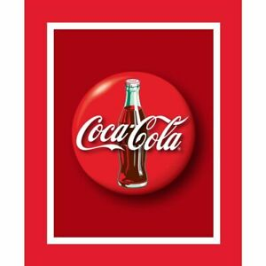 Coca Cola Fabric Panel Coke Bottle on Red OOP Quilt Shop Quality Cotton