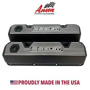 Ford 351 Cleveland Valve Covers Black Carroll Shelby Logo Ansen Usa