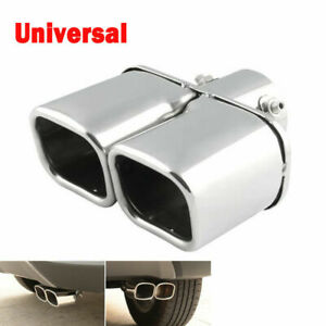 63mm Stainless Steel Car Rear Dual Exhaust Pipe Tail Muffler Tip Throat Tailpipe