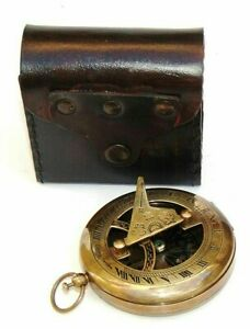Brass Nautical Sundial Compass Copper Antique Vintage Nautical Maritime