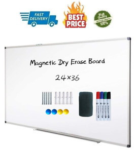 Magnetic Dry Erase Board Wall Mounted Whiteboard 36 X 24 Inch Lightweight White