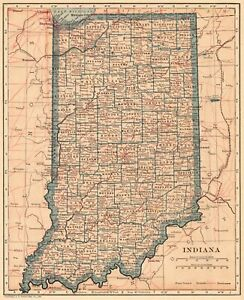 1923 Antique Indiana Map Vintage State Map Of Indiana Gallery Wall Art 8109