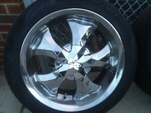 Used 20 Inch Chrome Set Of 4 Wheels With Tires 300 local Only No Shipping