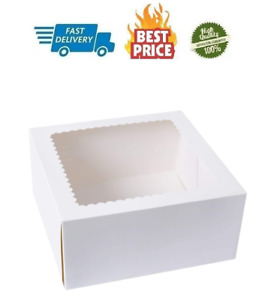 15pcs White Cake Boxes 8 X 8 X 4 Inch Kraft Paperboard Bakery Pie Box With Auto