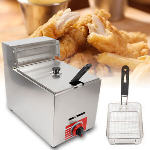 New Single Basket Commercial Deep Fryer Propane Gas Counter Top 10l Stainless Us