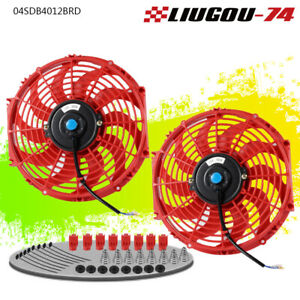 2 X 12 Inch Universal Slim Fan Push Pull Electric Radiator Cooling Mount Kit Us