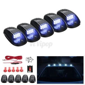 5pcs Smoked Roof Top Cab Lights 12 White Led Marker Lamps Kit For Truck Suv Rv