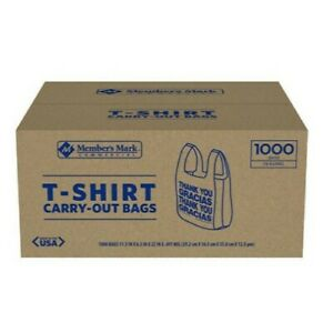 1000ct T shirt Thank You Plastic Grocery Store Shopping Carry Out Bag Recyclable