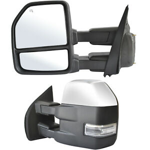 Towing Mirrors For 15 19 Ford F150 Truck Power Heated Signal Sensor Chrome 8 Pin