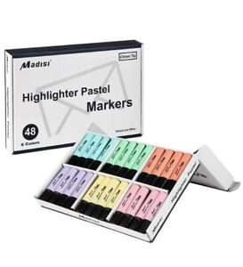 Madisi Highlighters Chisel Tip 6 Assorted Pastel Colors Bulk Pack 48 count