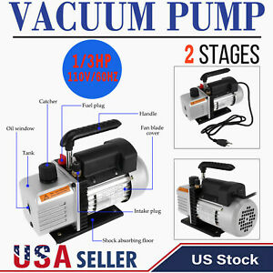 5 Cfm Vacuum Pump Rotary Vane 2 Stage Hvac Ac Refrigerant Air Conditioning 300ml