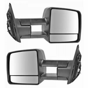 Towing Mirror Power Heated Led Signal Black Pair Set For Toyota Tundra Pickup