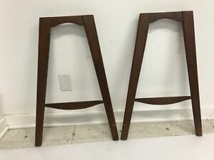 Vintage Mid Century Modern Wood Legs Pair Danish Table Base Set Wooden Side 50s