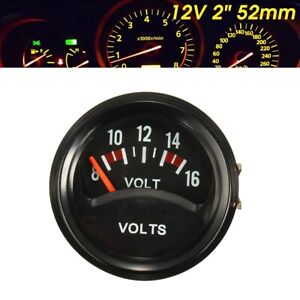 2 52mm Car Auto Mechanical Volt Voltmeter Voltage Meter Gauge 8 16v Black