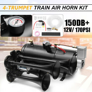 Car Truck Train Quad 4 Trumpet Air Horn Kit 170psi 150db 12v Compressor Kit