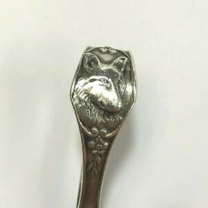 Watson Curved Handle Baby Spoon Dog Motif Sterling Silver No Monogram