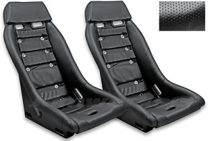 Retro Classic R1 Vintage Racing Bucket Seats perforated W Grommets Pair